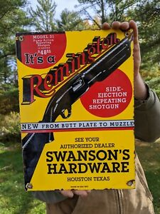 ORIGINAL 1931 REMINGTON FIREARMS PORCELAIN SIGN WINCHESTER ,NEW OLD STOCK AMMO