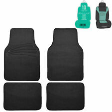 4pcs Full Carpet Floor Mats Universal Fit for Car SUV Black w/ Free Freshener