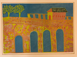 Pencil Signed Colorful Sunny Scheinfeld Yeshiahu Jewish Lithograph Mid Century
