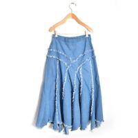 b12164c48c Soft Surroundings Denim Skirt Sz S Frayed Modest Midi Medium Wash  Asymmetrical