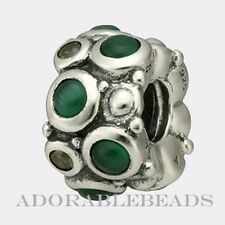 Authentic Chamilia Sterling Silver Cabochon Green Bead JB-51B *RETIRED*
