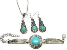 Necklace Earrings Bracelet Jewellery Set - Aztec Turquoise Blue Vintage Style