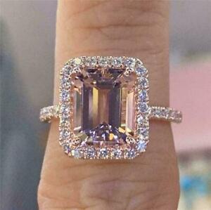 4.20Ct Emerald Cut Morganite & Diamond Halo Engagement Ring 14K Rose Gold Finish