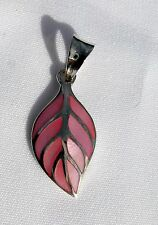 Sterling  Silver  (925)  Pink  Leaf   Pendant    !!          Brand  New  !!