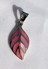 Sterling  Silver  (925)  Pink  Leaf   Pendant    !!          Brand  New  !!