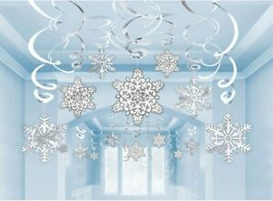 Amscan Christmas Decoration Pack of 30 Snowflake Swirls Paper And Foil