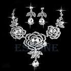 Bride Wedding Party Rose Crystal Rhinestones Drop Necklace Earring Jewelry Set