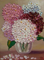 Hydrangeas Glass Vase Original Textured oil painting Floral still life 9 x 12 in