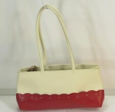 FURLA RED & IVORY LEATHER SHOULDER BUCKET HANDBAG VINTAGE