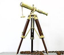 Marine Nautical Telescope Brass Wooden Tripod Floor Royal Decorative Telescope