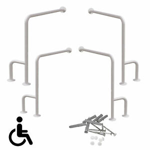 Haltegriffe Aufstehehilfe WC Stützgriff Wand Boden Montage links/rechts  Weiß