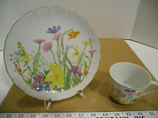 Seymour Manning Day Lily Fine China Floral Plate and Cup Set for 4 - EUC IOB