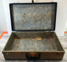 "💗VINTAGE💗 ANTIQUE WOOD TRAVEL SUITCASE 21"" X 13"" X 6"" BLUE **FAIR COND** #0851"