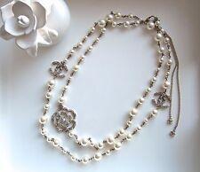"AUTH BNIB CHANEL Gold tone Chain Costume Pearl Camellia & 2 CC 48"" long Necklace"