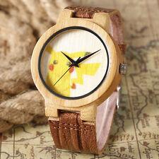Cute Pikachu Pokemon Nature Wood Bamboo Genuine Leather Strap Women Wrist Watch