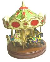 "10"" Tall VTG Merry-Go-Round Waco Bisque Ceramic Music Horse Clown Carousel Japan"