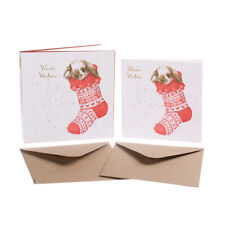 """Wrendale Designs Christmas Card Box Set of 8 Cards """"Christmas Stockings"""""""