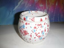 Small Red White And Blue Round African Violet Ceramic Pot/Planter