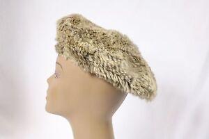 BEBE hat beret soft rabbit fur 186896 brown tan