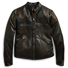 NWT New RRL Ralph Lauren Black Motorcycle Leather Jacket Men's XL Cafe Racer