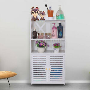 White Bathroom Storage Cabinet Shelf Rack Unit Free Standing Kitchen Living Room