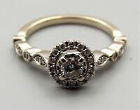 Vtg 14K White Gold Diamond Ring Sz 5.75 Halo Engagement Wedding .41 Carat TCW