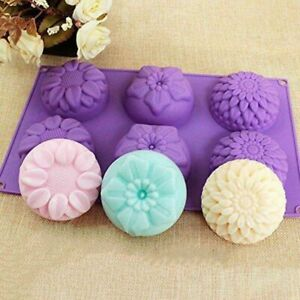 6 Cavity Flower Shaped Silikon Seifenform DIY handgemachte Kerze Kuchenform je