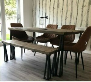 Industrial Dining Table And Bench. Rustic table, solid wood table, kitchen table