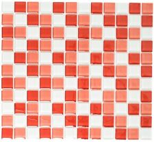 Mosaïque carreau translucide verre blanc rouge mur bain 72-0904_f | 10 plaques