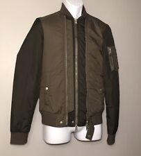 NEW All Saints Men's Braddock Bomber Jacket Designer Khaki Green Size XS NWT