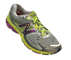 New Balance 860V3 Womens 7.5 B Running Shoes Silver Purple Neon Yellow  #WA