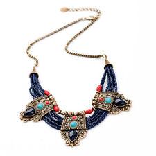 Turquoise Coral Blue Bead Tibetan Necklace Lapis Lazuli Stone Necklace Bib Charm