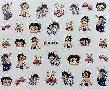 Nail Art 3D Decal Stickers Betty Boop Champane Glasses Bows K046
