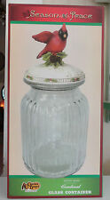 Cracker Barrel Cookie Jar Christmas Season Of Peace Glass Container NIB