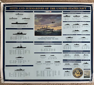 1999 Ships and Submarines of The United States Navy Poster USA Raytheon Rare