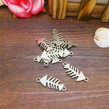 Cool Charm 6pcs Fish-bone Tibet Silver Pendant Fit for Bracelet Necklace FP30
