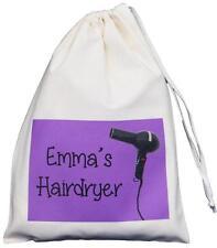 PERSONALISED - HAIRDRYER BAG - purple design SMALL NATURAL COTTON DRAWSTRING BAG