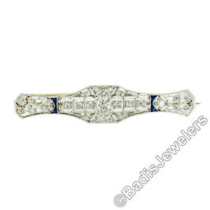 Antique Art Deco Platinum Diamond & Sapphire Milgrain Filigree Bar Pin Brooch