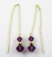 9ct Gold 375 Swarovski Elements Amethyst Pull Through Drop Dangle Earrings