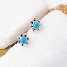Mohave Türkis blau rund Blüte Design Ohrringe Ohrstecker 925 Sterling Silber neu