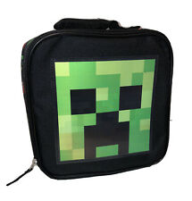 Minecraft School Lunch Box Bag Tote Square Creeper Green W/ 5 Pk Boost Minis!