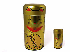 "Japanese 6"" Maneki Neko Rich Lucky Cat Gold Tea Canister Container Made in Japan"