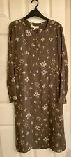 Marks And Spencer Cupro Ditsy Relaxed Dress Size 12R Khaki Mix