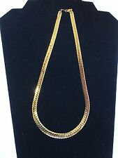 14KGP Yellow Gold Herring Bone 18 x .25 Inch Chain Necklace