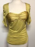NEW Moon Collection Women Top Yellow Shirt Blouse Lace Bustier Size Large