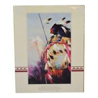 Vtg Native American Indian Print 20 x16 Indian Blessing Walk Tall as the Trees