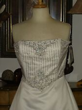 New Jessica McClintock Designer White Wedding Dress Ball Gown Beaded Bodice 6