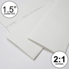 """1.5"""" ID White Heat Shrink Tube 2:1 ratio 1-1/2"""" wrap (2 feet) inch/ft/to 40mm"""