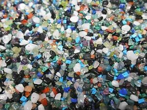 versch Splitter Größen Edelstein 50 g multicolor durchbohrt //R262