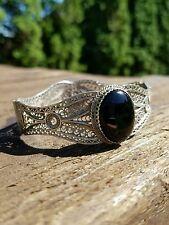 Vintage sterling silver 925 filigree and onyx cuff bracelet